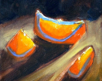 Orange Slices Still Life Oil Painting, Original 6x6 Canvas, Tangerine, Tropical Fruit, Small Food Art, Kitchen Wall Decor, Food, Square