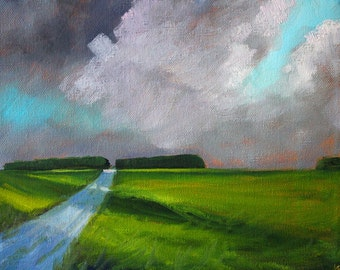 Rural Landscape, Oil Painting, Storm Clouds, Green Field, Great Central Plains, Original 8x10, Canvas, Country Road, Shadows, Skyline,