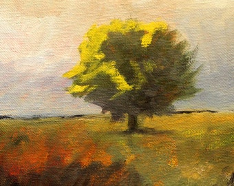 Landscape Oil Painting, Original Tree, Field Art, Small 8x10 Rural Country Scene, Green Yellow, Gold, Meadow Prairie, Stormy Sky