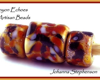 BIG HOLE  Tortoiseshell Over Silver Foil Lampwork Beads