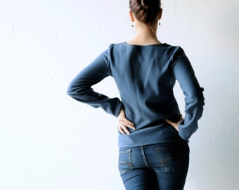 Wool sweater, Blue Sweater, Womens top, Winter clothes, Long sleeve top, Tunic top, Women clothing, Warm top, Petite, womens sweater