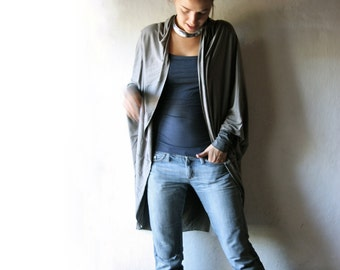 Long cardigan, Grey sweater, Oversize cardigan, Knit top, Draped shirt, shawl top, long sleeved cardigan, plus size womens clothes, hipster