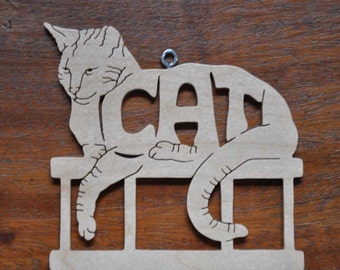 Kitty Cat Adorable Cat Ornament Hand Cut wooden Christmas Decor