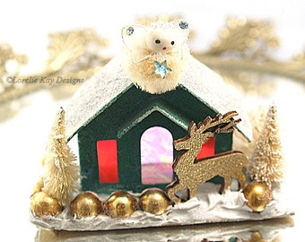 Golden Christmas Putz Style House Light up Christmas House Holiday Decoration Vintage Assemblage Lorelie Kay Original