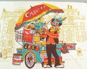 Vintage Hot Dog Cart Vendor hand towel, kitchen towel