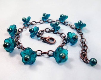 Flower Charm Bracelet, Teal Blossoms and Pearls, Gunmetal Silver Beaded Bracelet, FREE Shipping U.S.