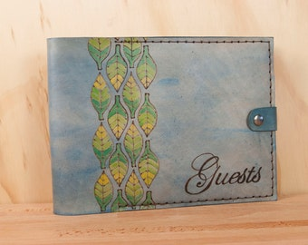 Guest Book -  Wedding guest book - Leather with leaves - Adam pattern in blue, yellow and green