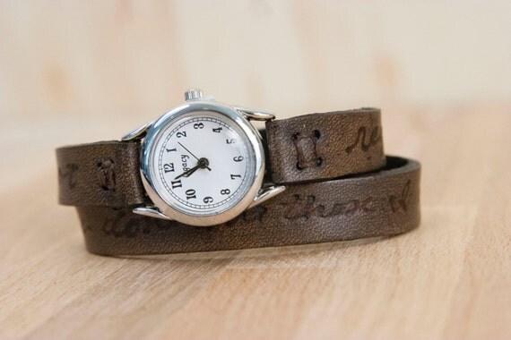 Leather Wrap Watch - Personalized Smokey Pattern - Antique Black