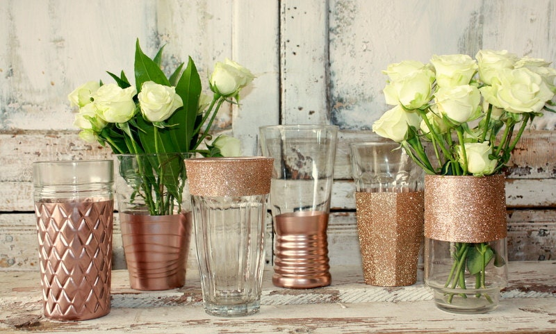 12 rose gold dipped vases rose gold wedding decor 6 for Decoration rose gold
