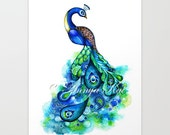 Peacock Watercolor Print // Bird Prints // Bird Wall Art // Bird Decor // Bird Watercolor Painting - FREE SHIPPING - Blue Green Turquoise