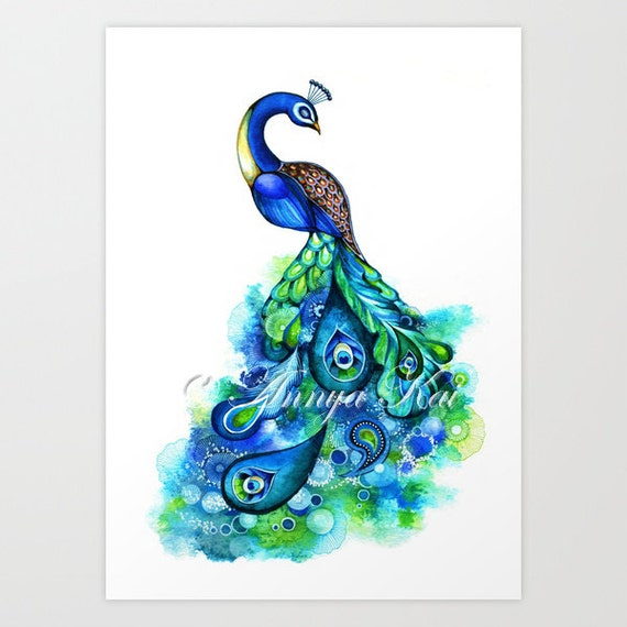 Peacock Watercolor Print - Bird Prints - Bird Wall Art - Bird Decor - Bird Watercolor Painting - Blue Teal Turquoise - Modern Gallery Wall