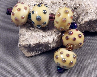 Handmade Lampwork Beads by Monaslampwork - Metallic dots on ivory - Lampwork Glass Beads by Mona Sullivan Boho Gypsy Organic Tribal