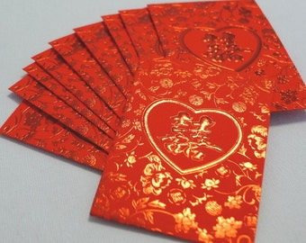 Red Metallic Embossed - Double Happiness (Heart)  - Chinese Wedding Cash Envelopes (Small 10 pcs)