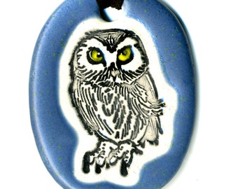 Owl Ceramic Necklace in Deep Blue