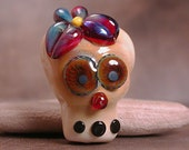 Sugar Skull Lampwork Focal Bead Day of the Dead Divine Spark Designs SRA