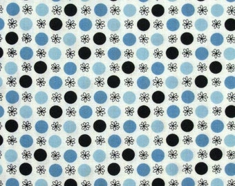 CLEARANCE 2 Yards Denise Schmidt Flea Market Fancy Flower and Dot Fabric in Blue