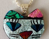 Dichroic Silver Glass Cat Head Necklace - Nate Silver