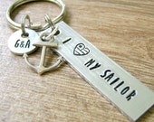 I Love My Sailor Keychain, navy girlfriend gift, navy wife gift, sailor's wife, naval deployment, initial disc, optional backside