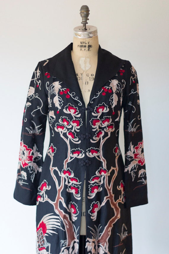 Art Deco Poiret Style Copy By Sue Wong Flapper Coat 1920's Style Oriental Embroidered Coat