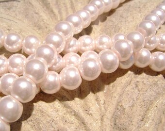 Pearlescent Glass Pearl Pearls Beads Pink 6mm Round LARGE 30mm Strand