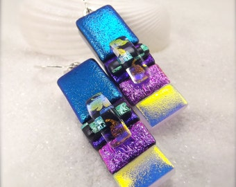 Fused dichroic glass, multi colored, women's handmade earrings, freshly picked, trending now, accessories for outfits, blue earrings, BOHO
