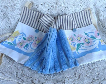 Vendor apron, utility apron, apron organizer, teacher apron with upcycled chenille, upcycled tablecloth, blue cottage chic