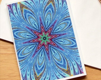 Marbled Paper Mandala Design Notebook no. 2, Mini Journal, Travel Diary