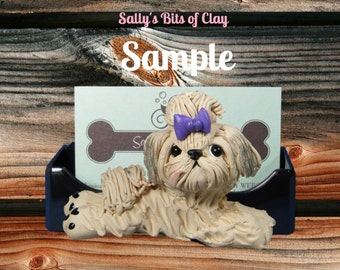 Creme with Shaded Ears Shih Tzu Dog Business Card or Cell Phone Holder OOAK by Sally's Bits of Clay