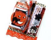 Vintage Orange and Black Halloween Ephemera and Trim Inspiration Pack