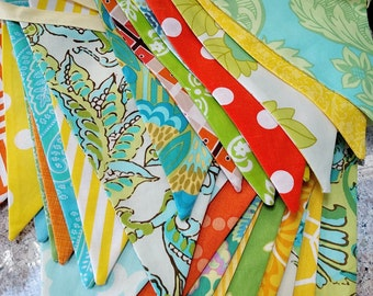 9 Flags, Mixed Colors One of A Kind Bunting Decor Fabric Flag Garland Banner. Event, Nursery, Birthday Party, Wedding Decor, Best Seller