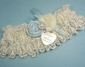 Wedding Garter, Personalized Bridal Garter in White or Ivory Venise Lace, with Handmade Blue Rose, Pearls and Rhinestones