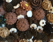 Brown Flower Cabochon Destash - Over 100 pieces