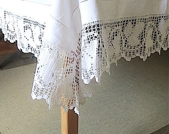 Fine Antique Irish Linen Tea Tablecloth Hemstitched Hand Crocheted Border