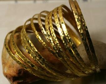 Stacking Bangle Bracelets, Gold Plated Bangles, Hammered Bangles, Textured Bangles (item ID GPBW68N)