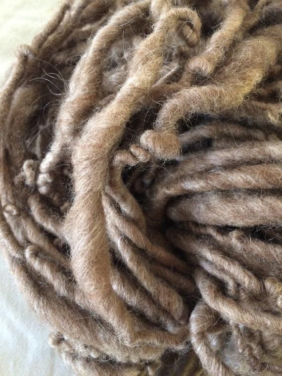 Ava and Tomas yarn, natural silvery brown yarn, chunky handmade super soft yarn, 104 yards, bulky handspun yarn, undyed brown yarn, tan yarn