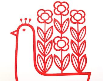 Scandinavian style screen printed Flowery Peacock by Jane Foster
