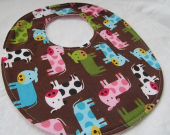 Baby Girl Bib - Cows in Multi - Boutique Bib for Baby or Toddler Girl