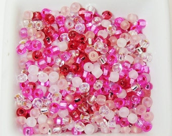 Pink Ribbon size 6 Bead Mix Women's Breast Cancer Awareness Color