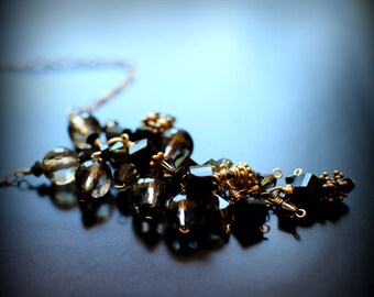 Smoky Quartz Cluster Necklace, Swarovski Crystals, Gold Vermiel, 14k Gold Necklace Drop Necklace, Heirloom Quality Necklace, One of a Kind