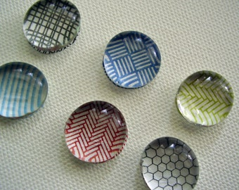 Set of six multi color security pattern glass pebble fridge or kitchen magnets / made to order