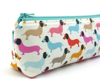 Dachshund Dogs on Cream Pencil Case - Pencil Pouch - Zip Pouch - Small Bag - Zipper Pouch - Planner Pencil Case Organiser