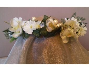 Faerie floral head wreath bridal flower crown renaissance costume womens accessory women's fashion accessory flower ringlet Imbolc