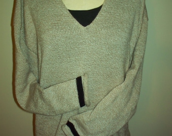 V neck  roll oversized  pullover sweater long sleeve beige with black stripe -you design; you choose colors  ***Free Shipping****