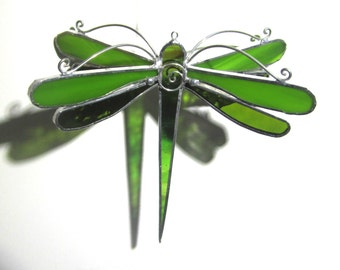 Lime Wings - Stained Glass Dragonfly Twirl - Small Green Home Garden Decor Suncatcher Yard Art Hanging Decoration Insect (READY TO SHIP)