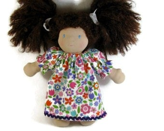 Waldorf Doll Nightgown for your 10 to 12 inch doll, Bright Floral Flannel Doll Nightie, Waldorf Doll Sleepwear, Cotton Doll Nightgown