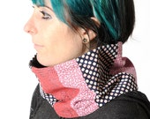 Pink and navy blue snood, Pink patchwork Cowl Scarf Neckwarmer, Womens fabric and lace cowl, Gift for women, Womens accessories, MALAM