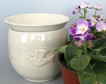 African Violet Pot - Self Watering Planter - Hand Thrown Stoneware Pottery - Ready to Ship