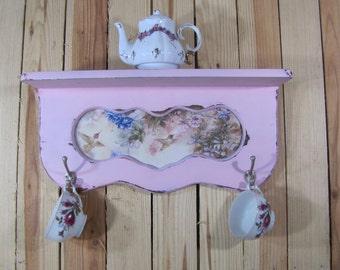Pink Wood Shelf with Hooks Tea Pot Display Key Caddy Shabby Chic Hummingbird