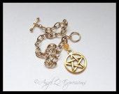 Natural Vibrations Gold Pentacle Chain Bracelet with Quartzite OOAK