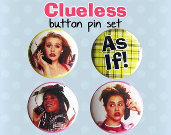 Clueless Button Pins - Cher Horowitz - 1990s Movies (Set of 4)